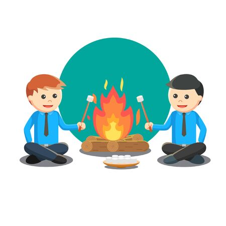Camping with Friend vector illustration