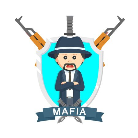 Mafia boss emblem design vector illustration