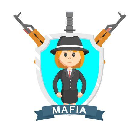 mafia girl emblem design vector illustration  イラスト・ベクター素材