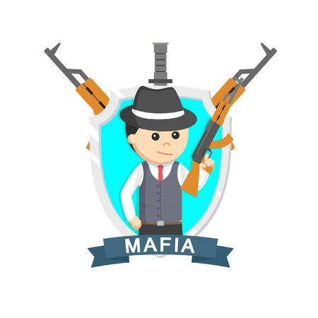 Mafia rifle emblem design vector illustration