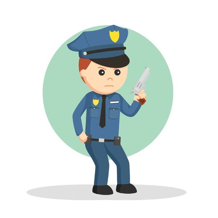 Police with weapons job info illustration