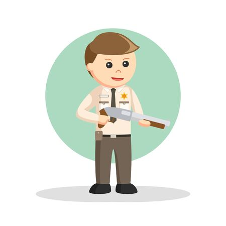 Sheriff By holding a shotgun vector ilustration