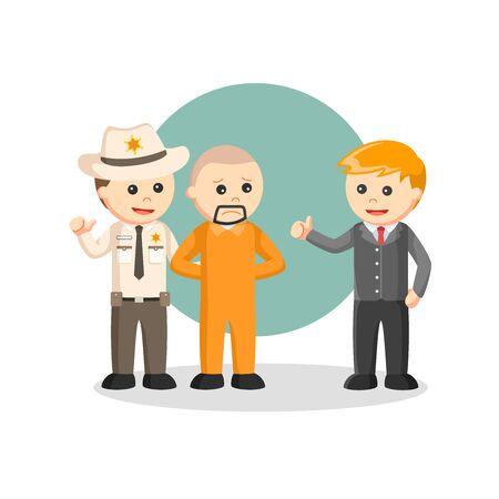 Arrest Prisoner job info vector illustration