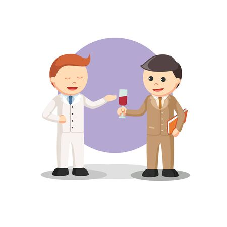 business offering a drink to other business  イラスト・ベクター素材