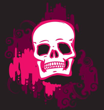 white skull on pink background photo