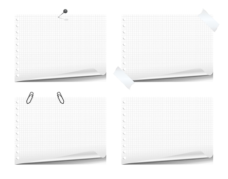 paper curl: Set of notepad pages with paper curl, isolated on white background