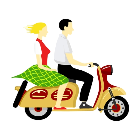 couples outdoors: Boy and girl riding a scooter Illustration