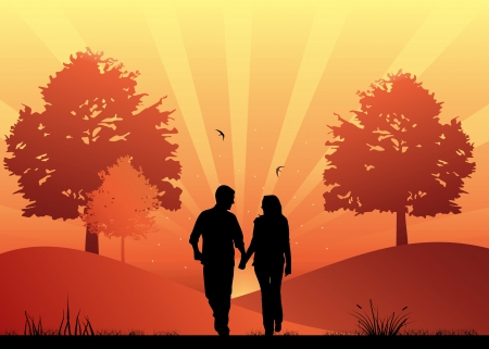 teenagers love: Couple in love walking in the park