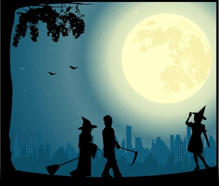 silhouette of female characters: Halloween vector illustration