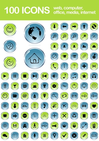 computer office: Set of 100 web icons .100 web icons.Web, computer, office, media, internet and other