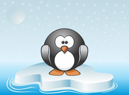 lone: Illustration of a lone penguin traveling on melting iceberg. Symbolizing global warming Illustration