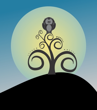 Owl on top of the tree Vector