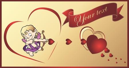 eros: Vector illustration of cute cupid ready to shoot his arrow