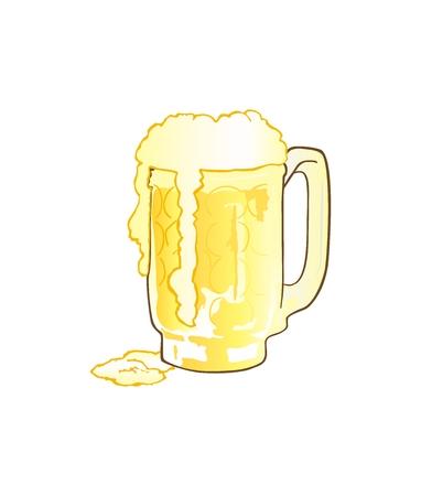 overflowing: Mug of Beer with Overflowing Foam Illustration