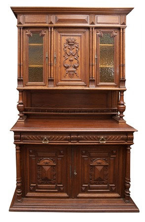 19th century: Old German cupboard. Softwood pinewood with embellishments. 19th century
