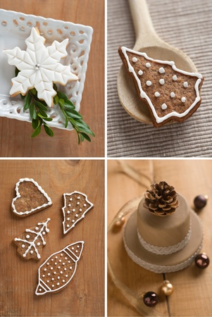 Collage of Christmas cookies covered with fondant photo