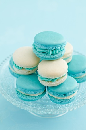 buttercream: Light blue and white macaroons with buttercream filling
