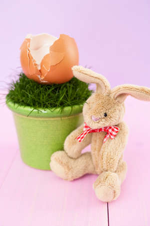 Stuffed rabbit or bunny with an eggshell on grass in a flowerpot photo