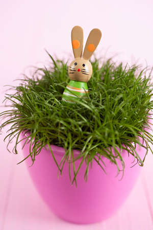 Easter decoration with wooden miniature bunny on grass in a flowerpot photo