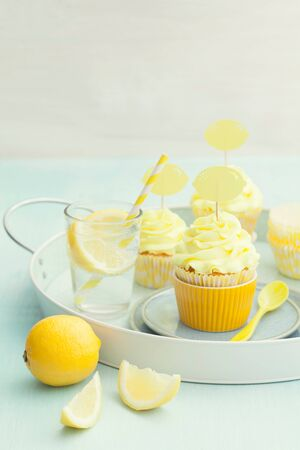 Lemon cupcakes decorated with lemon cupcake toppers