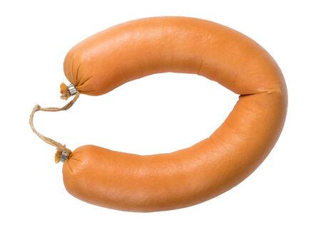 Bologna sausage isolated on white Zdjęcie Seryjne