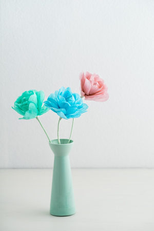 Three flowers made of crepe paper in a vase stock photo picture and stock photo three flowers made of crepe paper in a vase mightylinksfo