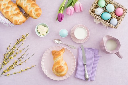 Easter breakfast scene shot from above Stock Photo