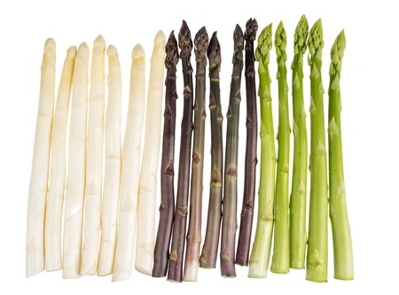 Bunch of fresh white asparagus isolated on white Imagens