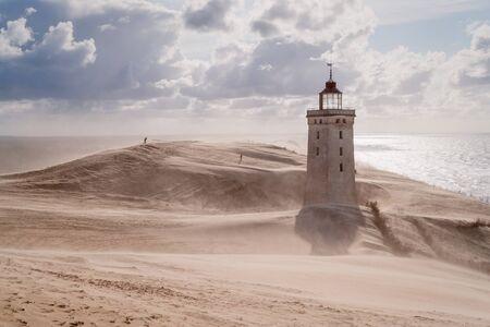 Sandstorm at the lighthouse Rubjerg Knude in North Jutland, Denmark