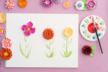 Colourful handmade paper flowers and watercolor painting stock photo colourful handmade paper flowers and watercolor painting stock photo 66851540 mightylinksfo
