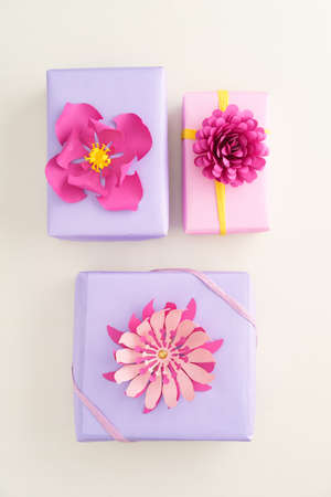 Nicely wrapped presents decorated with handmade paper flowers stock nicely wrapped presents decorated with handmade paper flowers stock photo 66840519 mightylinksfo