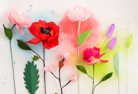 Colourful handmade paper flowers and watercolor painting stock photo colourful handmade paper flowers and watercolor painting stock photo 66852047 mightylinksfo