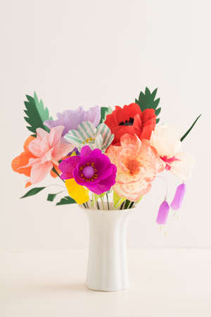 Bouquet Of Handmade Paper Flowers In A Vase Stock Photo Picture And