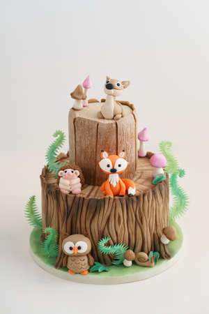 Enchanted forest woodland themed fondant cake with a hedgehog, deer, owl, fox, snail, tree trunk, ferns, mushrooms and leaves on white background 版權商用圖片