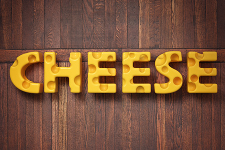 3d render illustration of the word cheese on rustic wooden background