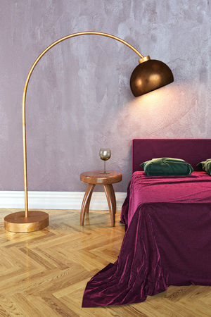 3D rendering of a bedroom with a bed, a bedside table and a lamp Zdjęcie Seryjne