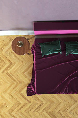 3D rendering of a bedroom with a bed and bedside table Zdjęcie Seryjne