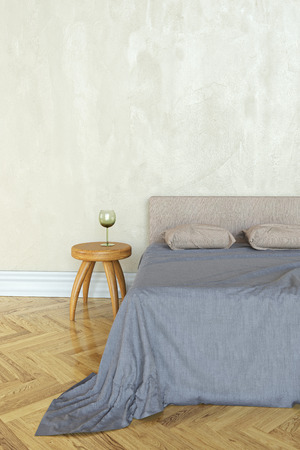 3D rendering of a bedroom with a bed and bedside table Banco de Imagens