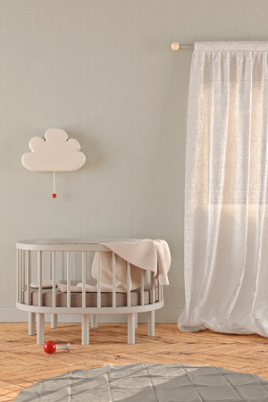 3D rendering of a gender neutral nursery with a crib, window curtains, a lamp and a carpet in pastel colors Banco de Imagens