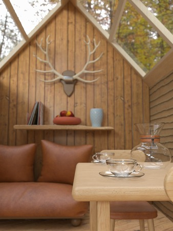 3D rendering of an interior of a cozy cabin in the woods with glass roof, a sofa, a fireplace, table and chairs