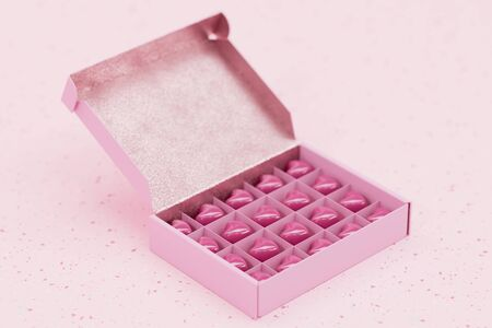 Heart shaped chocolates made from ruby chocolate in a pink gift box on pink terrazzo 3D render Imagens