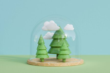 3D rendering of miniature trees and clouds under a glass dome, copy space Zdjęcie Seryjne