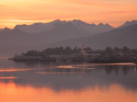 Approaching Petersburg, Alaska on the Inside Passage at dawn.