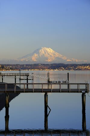 tacoma: Mount Rainier, Alpenglow, Tacoma and Puget Sound