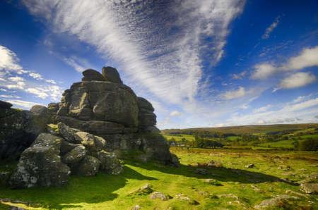 Houndtor in Dartmoor, Devon, England on a sunny day in Autumn  Banco de Imagens