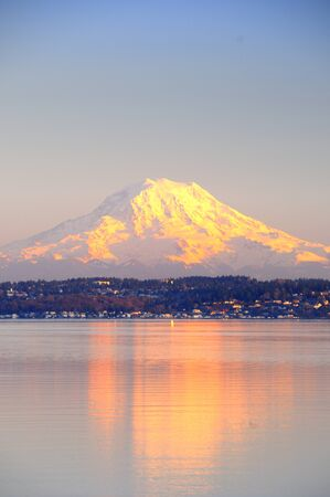 tacoma: Alpenglow on Mount Rainier reflects on Puget Sound
