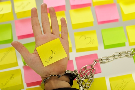 business woman hands holding sticky notes; business concepts Stock Photo - 11224807