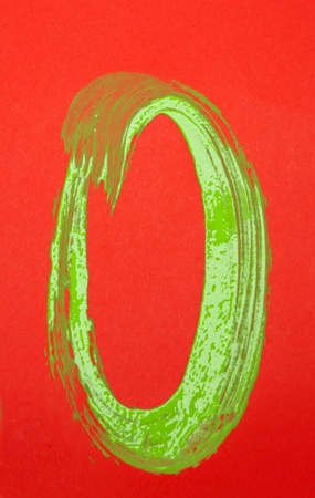 O letter or zero number on red background photo