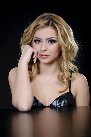 elegant woman with professional hair and make-up photo