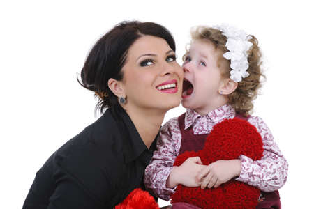 beautiful mother with her daughter studio shoot photo